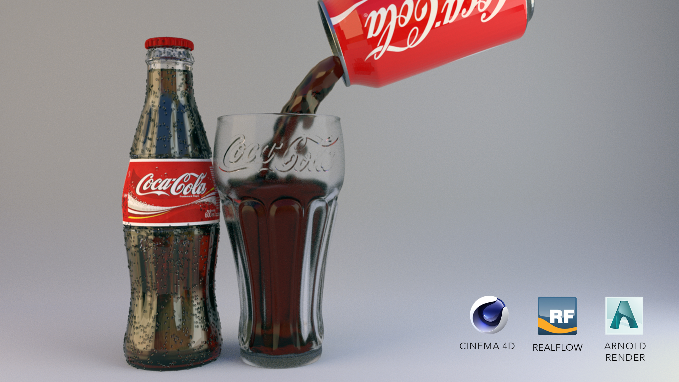 Coca Cola Ensemble mit Arnold Render